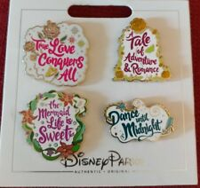 Disney Parks 4 Pin Princess Quotes Set Ariel, Aurora, Belle & Cinderella