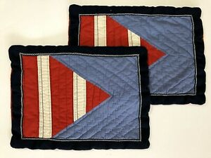 2 Pottery Barn Kids Quilted STANDARD Pillow Shams Sail Nautical Flag Red Blue