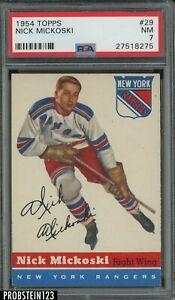 1954 Topps Hockey #29 Nick Mickoski New York Rangers PSA 7 NM