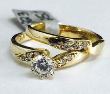 Solid 14K Yellow Gold CZ Wedding Enagagement Ring Set Sz 7.5, 5mm Cubic Zirconia