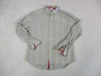 Robert Graham Button Up Shirt Adult Large Brown Purple Striped Flip Cuff Men A0*