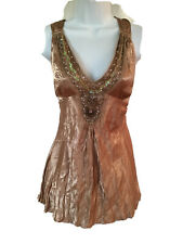 NWT~FANG~DOLLED UP-TWIST SEQUINED & BEADED SLEEVELESS TOP~LADIES SZ: L