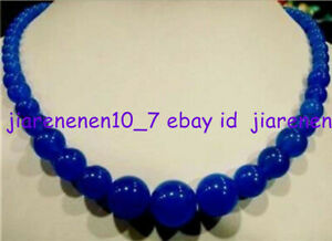 Beautiful Natural 6-14mm Blue Sapphire Round Gemstone Necklace 18 Inch AAA Z453