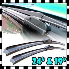 "New J-Hook 24"" + 19"" Premium Bracketless Windshield Wiper Blades Pair All Season"