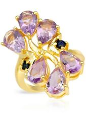 GENUINE AMETHYST / SAPPHIRE/ DIAMOND RING IN 14K GOLD OVER 925 STERLING SILVER 8