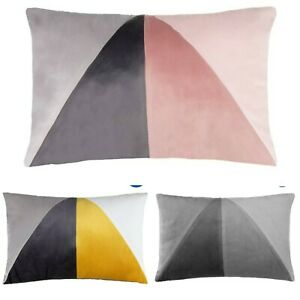 Karina Bailey Geo Velvet Filled Cushion Luxury Bedroom Sofa Cushion Blush Grey