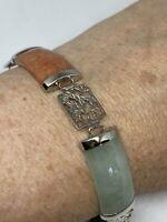 Vintage Mixed Jade Garnet Bracelet 925 Sterling Silver Deco