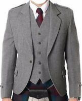Argyle kilt Jacket & Waistcoat/Vest, Scottish Argyle Jacket Mixed Tropical Wool