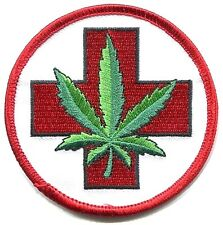 HEMP medical marijuana EMBROIDERED IRON-ON PATCH *Free Shipping* red cross leaf