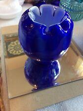 """Vintage Fenton 5"""" T Cobalt Blue Overlay Victorian Rose Bowl"""