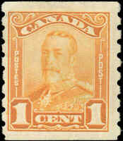 Mint H Canada F+ Scott #160 COIL 1c 1929 King George V Scroll Issue Stamp