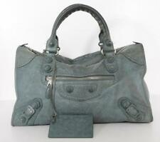 BALENCIAGA Blue-Gray Leather Motocross Giant Covered Work Bag Handbag Purse