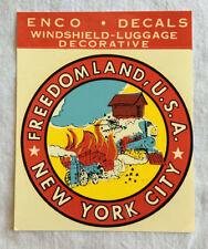 Freedomland USA Unused Auto or Luggage Decal Orig 1960s NYC Theme Park Souvenir