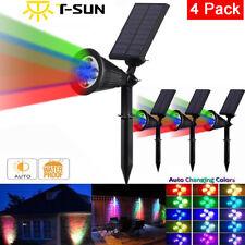4X Solar Power Spot Wall light LED RGB Color Garden Outdoor Path Landscape Lamp