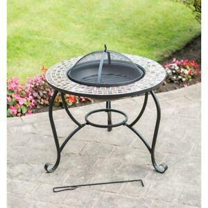 ALFRESCO Garden Fire Pit & BBQ, Mosaic Table - Outdoor Heater Barbeque Firepit