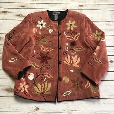 Indigo Moon Pink Flower Floral Embroidered Button Up Lined Jacket - Size PS