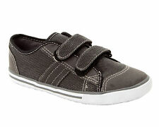 BOYS CASUAL GREY CANVAS DUAL STRAP FASTENING TRAINERS SHOES JUNIORS UK SIZE 13-5