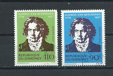 DAHOMEY , BENIN , AIRMAIL , BEETHOVEN , 1970 , SET OF 2 , PERF , NH/CTO