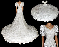 MICHAEL ANGELO White Wedding Dress Bridal Gown Michelangelo Cathedral Train