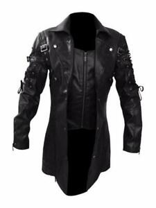 Men's Steampunk Gothic Leather Coat Goth Matrix Trench Coat Nightclub Cosplay sz