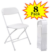 (8 PACK) Commercial White Plastic Folding Chairs Stackable Wedding Party Chair