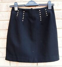 H&M BLACK STUDDED GOLD SPIKE SIDES BIKER TUBE BODYCON PARTY EVENING SKIRT 10 S 8