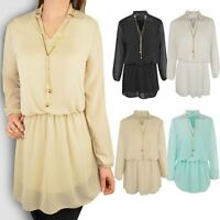 Womens Blouse Chiffon Long Sleeve Ladies Shirt Dress Loose Short Casual Top Size