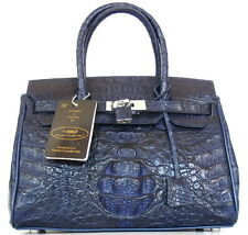 100% BIG HORNBACK GENUINE CROCODILE LEATHER HANDBAG BAG TOTE SHINY NAVY BLUE NEW