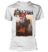 Saxon Crusader White Shirt S-3XL T-Shirt Heavy Metal Band Official Tshirt