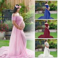 Womens Maternity Pregnancy Long Maxi Dress Off Shoulder Dress Photography Prop