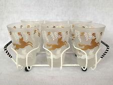 Libbey Cavalcade Gold & White Horses Six 8-oz Glasses w/Caddy Retro MidCentury