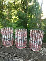 MCM RETRO JUICE GLASSES SET OF THREE PLAID HOLD 4 OZ. VINTAGE PINK BLACK WHITE