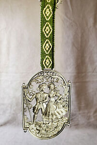 Vintage Pewter Wall Plaque Ribbon Hanging W Germany Farmhouse Embossed Decor