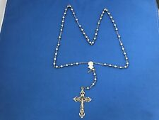 VINTAGE CHAPEL STERLING SILVER ROSARY CROSS CRUCIFIX JESUS CHRIST BEAD NECKLACE