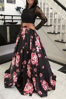 Black Floral Lace Long Prom Dress Pageant Gown two pieces New 2-12 In Stock