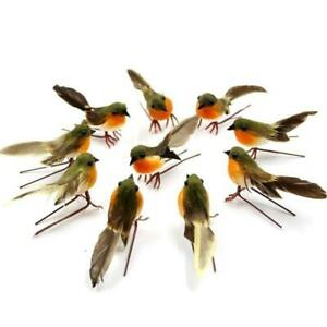 10X Lovely Artificial Feather Robin Bird Christmas Xmas Tree Decoration Craft