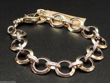 Fossil Glitz Charm Bracelet Goldtone Stainless Steel Pave Crystals New!