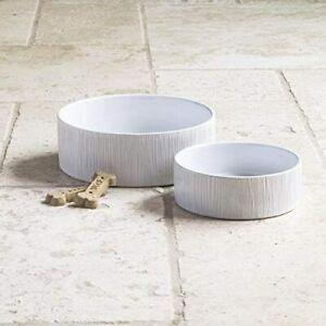 TarHong Premium Ceramic Wood Grain Stoneware Pet Bowl Set