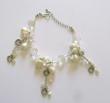 """Bracelet-Freshwater Pearls-baroque white clear beads- hearts 7.5"""" - 9"""""""