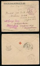 INDIA 1916 RED CROSS PRINTED ENVELOPE FIELD CENSOR OAS + REDIRECTED WW1