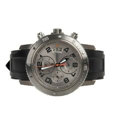 Hermes Watch Clipper Chrono Stainless Steel Silver Dial Mens
