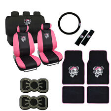 New Pink Lady Skull Bow Car Seat Covers Steering Wheel Cover Shoulder Pad Emblem