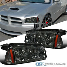Fit 06-10 Dodge Charger Replacement Smoke Headlights Headlamps+Signal Lamps Pair