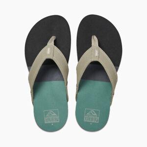Reef Men's Tri Newport Flip Flops Sandals - Black/Green NWT