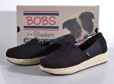 NEW Skechers Bobs Wedge Espadrille Shoe Women's 8 MED Black Memory Foam 34101