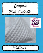 Tissu Nid d'Abeille Éponge Blanc (3 metres)