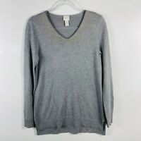 Chico's Size Small 4 0 Gray Shimmer Jordan Pullover Sweater V Neck Casual