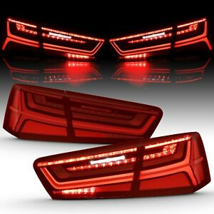 Sequential Signal LED Tail Lights For Audi 2012-2015 A6 S6 Red