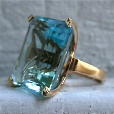 14K Natural Aquamarine Diamond Ring Yellow Gold Women's Big Engagement