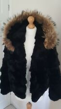 Luxurious Real Rabbit Fur Coat With Fox Fur Trimmed Hood Fits UK10-12